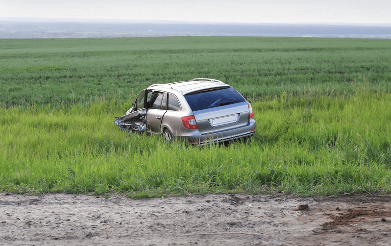 car in a ditch after an accident
