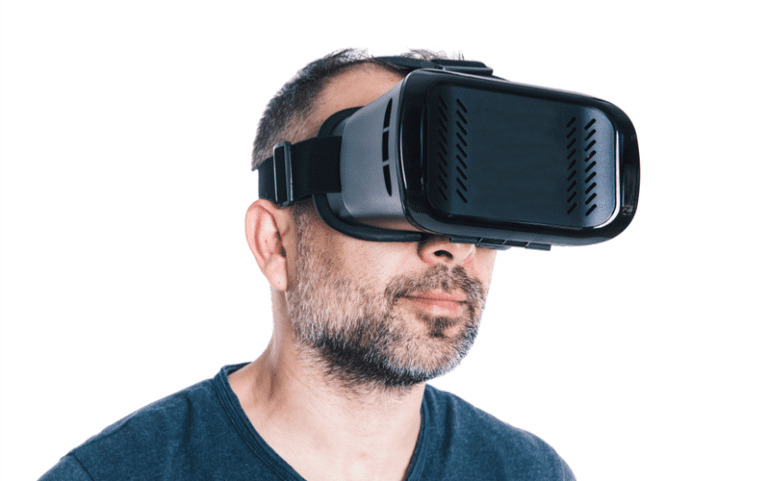 Man using virtual reality goggles