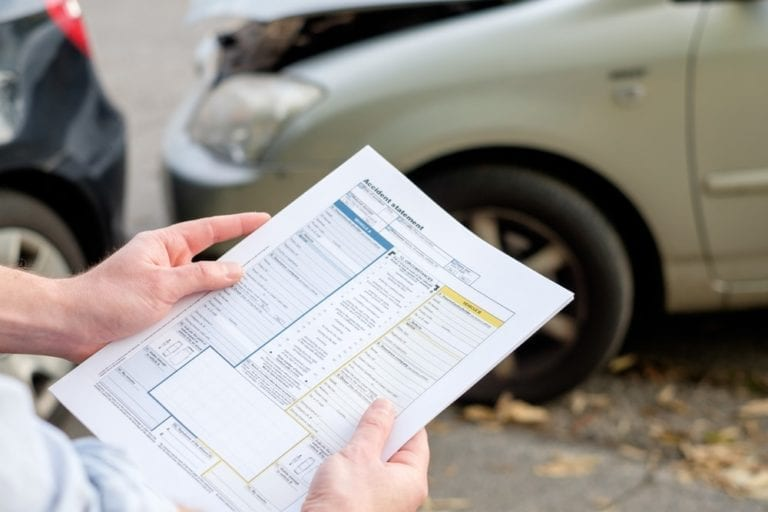 car accident claim paperwork
